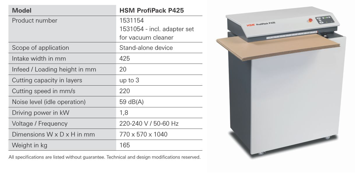 P425 carton shredder